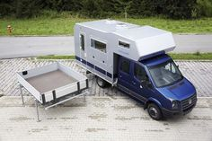 The Bimobil BJ330 Mercedes Sprinter double-cab camper - camper top can be exchanged with a pick-up bed for a dual-use vehicle!