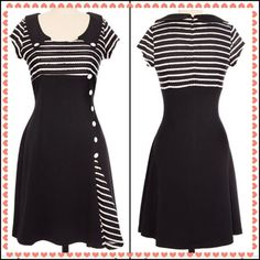 Pinup Sailor B&W Midi Dress Super cute pinup style sailor dress! Brand new, never worn just tried on. Fits like a XS/S especially around the shoulders. Material feels nice & thick. x) My loss your gain! Retails for $70! Selling for $34 on Mercari*** Brand: Voodoo Vixen Rebel Circus. Retro. Voodoo Vixen Dresses Midi