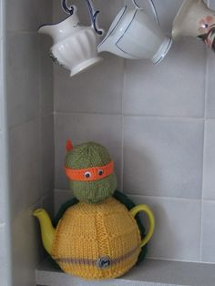 This hero in a half shell will keep your tea piping hot! That's turtle power!  http://www.teacosyfolk.co.uk/tea-cosy-knitting-pattern.php https://www.ebay.co.uk/itm/202163940018