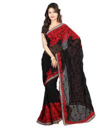 Buy Black plain georgette saree with blouse georgette-saree online