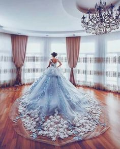 What a spectaular train on this wedding gown! The surf of white blossoms against the sea of the dress trailing behind the bride is simply breathtaking. See more wedding gowns on Wedding Vows. Princess Wedding Dresses, Wedding Gowns, Wedding Bride, Princess Gowns, Modest Wedding, Wedding Makeup, Wedding Reception, Wedding Venues, Quinceanera Dresses