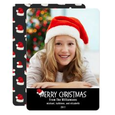 Merry Christmas Santa Hat On Black Card - merry christmas diy xmas present gift idea family holidays