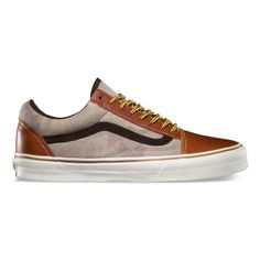 California Collection: Leather Old Skool Reissue CA: Henna/Camo colorway features stonewashed camo textile on quarter underlays and tongue inspired by vintage hunting bags