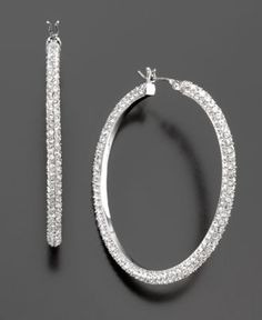 Lauren Ralph Lauren Pave Hoop Earrings - Fashion Jewelry - Jewelry & Watches - Macy's