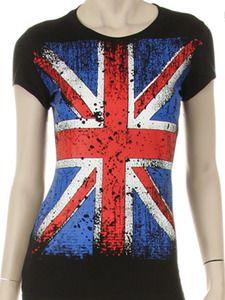 England Flagge Union Jack Vintage Girlie T-Shirt  Britain Flag United Kingdom UK