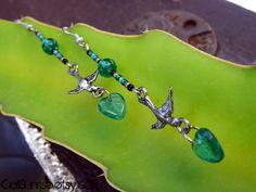 Take a look at our Stunung Glass Collection! Bird with a Leaf Beaded Earrings  Beautiful by CaliSunrise on Etsy, $9.00