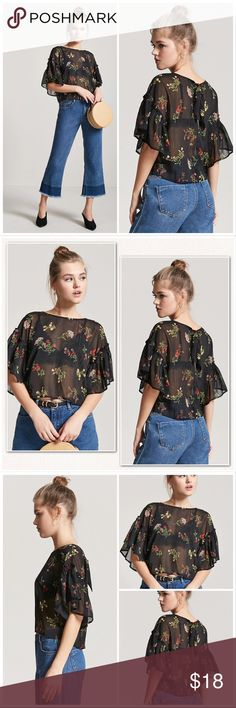 Black Floral Sheer Ruffle Blouse Size S, M New With Tag. ❌PRICE FIRM-DO NOT OFFER❌  Features -Sheer woven top  -Floral print with a metallic striped design -Round neckline -Dropped shoulders -Short ruffle sleeves -Back keyhole cutout with a self-tie closure.  Material:  -99% polyester -1% other fibers Forever 21 Tops Blouses