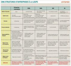 TABLEAU COMPARATIF. Cinq statuts juridiques d'entreprise à la loupe - L'Express L'Entreprise