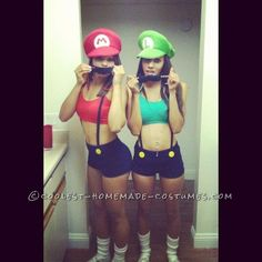Sexy and Simple Mario and Luigi Couple Costume for Women halloween costumes, coupl costum, couple costumes, diy craft, sexy diy costumes women, diy idea, mario bros, costum idea, halloweencostum