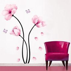 Prettywall Home Decor Mural Vinyl Wall Sticker Pink Flowers Falling Petals Kids Nursery Room Wall Art Decal Paper *** Check out the image by visiting the link. Butterfly Wall Decals, Flower Wall Stickers, Flower Decals For Walls, Cheap Wall Stickers, Wall Decor Stickers, Green Wall Color, Simple Flower Design, Wall Ornaments, Pvc Wall