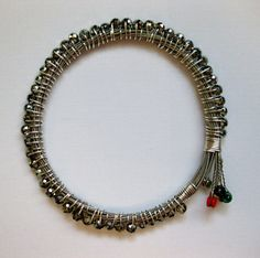 Silver Beaded Guitar String Bracelet - Handmade Recycled Jewelry $26