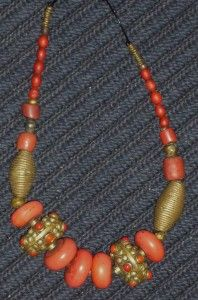 Old Coral Glass Beads, Brass, african glass beads, Ethiopian metal beads, Bronze. Bronze is traditionally associated with wealth and prestige in Cameroun, Zaire, Gabon.