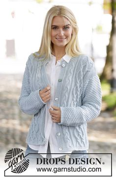 Winter Delight Jacket - Knitted jacket with cables and double moss stitch. The piece is worked in DROPS Merino Extra Fine. Sizes S – XXXL. - Free pattern by DROPS Design Leaf Knitting Pattern, Knitting Patterns Free, Knit Patterns, Free Knitting, Sewing Patterns, Cardigan Pattern, Jacket Pattern, Crochet Cardigan, Knit Crochet
