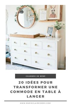 20 ideas to turn a dresser into a changing table / DIY bedroom decor . Baby Room Diy, Baby Bedroom, Baby Room Decor, Diy Bedroom Decor, Home Decor, Diy Changing Table, Changing Table Dresser, Ikea Nursery, Nursery Wall Decor