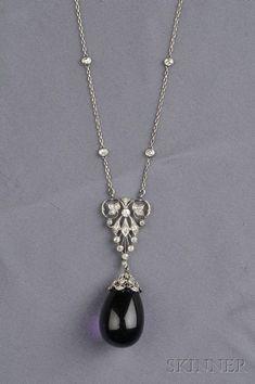 Art Deco Platinum, Amethyst, and Diamond Pendant