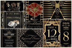 Gatsby Black Gold theme | Art Deco Invitations & table cards