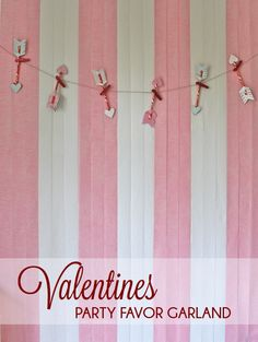 Party garland with cupid's arrows made from pixie stix. After the party take the arrows down and give them out as favors!
