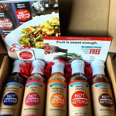 Super stoked to get this box of Not Ketchup in the mail! All purpose sauces made without ANY sugar or corn syrup added Not Ketchup is perfect for diabtetics paleo peeps and you clean eating folks. Got diabetics in your life or love to eat Paleo? Check out @notketchup you'll love them! Not sponsored in fact I just sponsored them so they could make this huge healthy move to no added sugar sauces. #notketchup #ketchup #sauces #saice #t1diabetes #t1diabetic #diabetes #momlife #momsofinstagram…