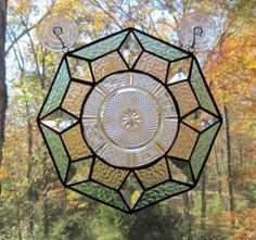 Octagon peach and teal Stained Glass