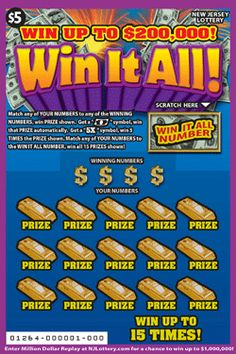 WIN IT ALLl: More Than $19 Million in Prizes. Approximately 6 million Win It All! tickets are initially planned in this game. To learn more about this game, which debuted on December 1, 2014, click on the image. Lottery Winner, Winning The Lottery, Lotto Games, Off Game, Scratch Off, December, Board, Image, December Daily