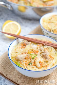 One-Pot Pancit is a quick and easy rice noodle dinner the whole family will love. With chicken, shrimp, and vegetables, this recipe makes a lot, so you can have leftovers too. Pancit is delicious a… Asian Recipes, Healthy Recipes, Ethnic Recipes, Oriental Recipes, Chinese Recipes, Sweets Recipes, Salmon Recipes, Chinese Food, Japanese Food