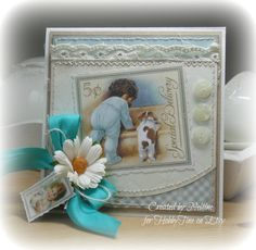 A OOAK Vintage Shabby Chic baby card with a Graphic45 by HobbyTine, $4.95