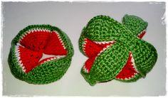 Amish Puzzle Ball Watermelon Crochet Ball, Crochet Baby Toys, Crochet Food, Crochet Gifts, Cute Crochet, Crochet For Kids, Crochet Animals, Easy Crochet, Baby Knitting
