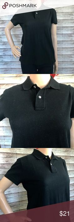 Polo Ralph Lauren Black Collared Shirt Size: S Style:  RN #41381 Classic Fit.  Two Buttons.  Short Sleeve.   Material: 100% Cotton  Measurements: Approx Bust 18in Length 22in Polo by Ralph Lauren Tops Blouses