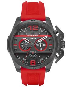 df8ef0c3438 Diesel Men s Chronograph Ironside Red Silicone Strap Watch 48x55mm DZ4388  Jewelry   Watches - Watches - Macy s