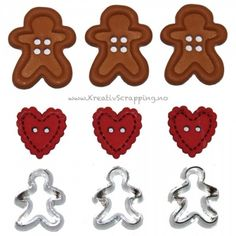 Gingerbread Man Cookie Lansing Shank Buttons Sewing Scrapbook Christmas 9 Pieces