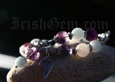 """Fairy"" 💎 Gemstones: Fluorite, Amazonite and Rose Quartz. Amazonite is called a ""hope stone"" and also a ""good luck"" stone.  Quartz is called the ""Universal Crystal"" because of its many uses. Fluorite is a highly protective and stabilizing stone. Bracelet Making, Rose Quartz, Fairy, Beaded Bracelets, Gemstones, Crystals, Collection, Jewelry, Pink Quartz"