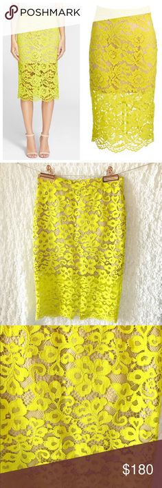 "Trina Turk lace skirt Yellow lace (57% Rayon, 43% Nylon). Fitted skirt with back slit. Scalloped hemline. Hidden back zipper with hook-and-eye closure. Partially lined. 27"" from waistline to hem. Trina Turk Skirts Pencil"