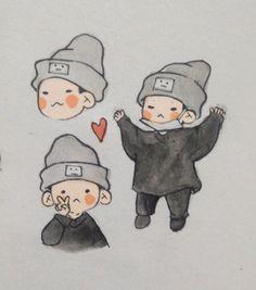 Kpop Drawings, Dibujos Cute, Bts Chibi, Cartoon Art Styles, Kpop Fanart, Cute Icons, Bts Wallpaper, Art Sketches, Cute Art