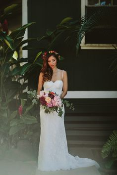 Image by Tupou Photography - Loulu Palm North Shore Hawaii Wedding | Gold Sandals by J.Crew | Bright Flower Arrangements | Outdoor Wedding Reception | Tupou Photography