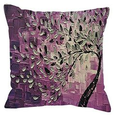 AmazonSmile: Oil Painting Black Large Tree and Flower Birds Cotton Linen Throw Pillow Case Cushion Cover Home Sofa Decorative 18 X 18 Inch (Black): Home & Kitchen