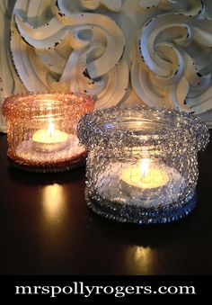 Click here to DIY--- 40 cent Scrubby Jar Votives!!  You can make a gazillion of them for events, weddings, parties, or decor.  Blog & Photos from MrsPollyRogers.com