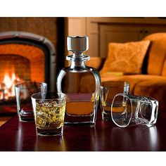 Shannon Crystal Marquis Whiskey Decanter and 4 Double Old-Fashioned Glasses Set.
