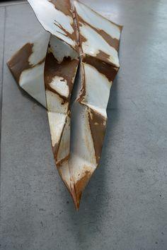 """aeroplane""  sculpture made by Karolina Gajda, plate, acrylic paint and acid"