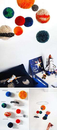 This #DIY pompom solar system mobile from the geniuses at @wearescout is truly out of this world.