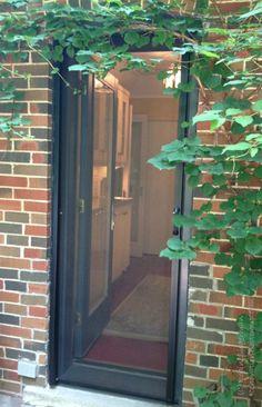 Phantom Screen Doors are practically invisible Security Screen, Security Door, Fly Screen Doors, Phantom Screens, Hidden Doors, Lake Cottage, Exterior House Colors, Back Doors, Modern Exterior