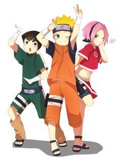 Rock Lee, Uzumaki Naruto and Haruno Sakura-- oh my god, look al lee XD Naruto And Sasuke, Kakashi Hatake, Anime Naruto, Naruto Movie 3, Lee Naruto, Naruto Team 7, Naruto Comic, Naruto Fan Art, Naruto Cute
