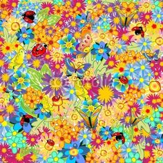 Springtime Flowers Butterflies and Ladybugs Pattern-Vector © bluedarkat