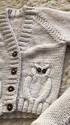 Baby Knitting Patterns, Baby Cardigan Knitting Pattern, Baby Patterns, Free Knitting, Cardigan Bebe, Baby Boy Cardigan, Toddler Sweater, Sweater Cardigan, Owl Sweater
