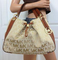 Michael Kors MK Signature Large Khaki Brown Tote Handbag Shoulder Bag Purse #MichaelKors #ShoulderBag