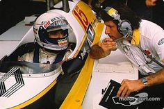 Alain Prost in the pits in his Renault, Monza, 1981 · RaceFans David Coulthard, James Hunt, Alain Prost, Michael Schumacher, Renault Formula 1, F1 Drivers, Vintage Racing, Brand Ambassador, Yellow