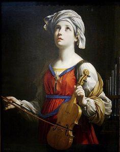 Saint Cecilia- Guido Reni, 1606  Patron saint of musician and Church music. Feast day is November 22.
