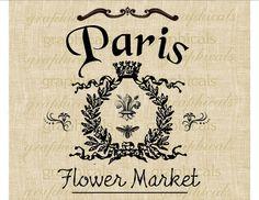 Vintage Paris sign Fleur de lis Crown Bee instant digital image download for transfer to fabric burlap  papercraft pillows tote bags No. 337...