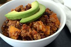 Sweet Potato and Quinoa Chili. This sounds so delicious and healthy. Leave it to Dr Oz!  Can't wait to try it out.