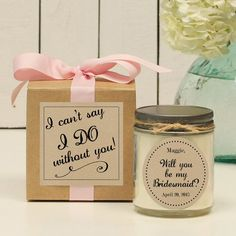 Will you be my Bridesmaid Gift // Will you be my Maid of Honor Gift // Bridesmaid Candle // Maid of Honor Candle - Jenna label Will You Be My Bridesmaid Gifts, Bridesmaid Thank You, Asking Bridesmaids, Bridesmaid Gift Boxes, Bridesmaid Proposal Gifts, Bridesmaid Ideas, Ask Bridesmaids To Be In Wedding, Bridesmaid Dresses, Diy Wedding