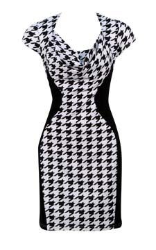 Houndstooth Colorblocked Dress                                                                       front view